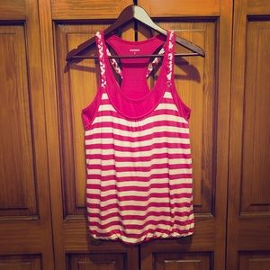 Express pink and white layered tank size Small